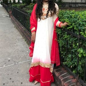 Dresses & Skirts - White and red long anarkali